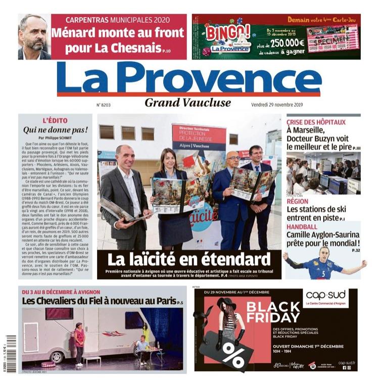 La Provence Vaucluse fait sa UNE sur le Livre géant Laïcité Vaucluse