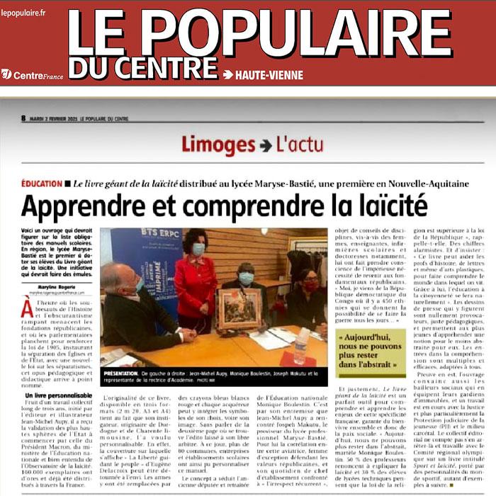 Le Populaire du Centre – Livre Géant Laïcité au Lycée Maryse Bastié de Limoges