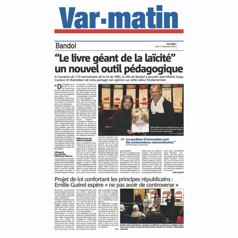 Var-matin – Le Livre Géant Laïcité, nouvel outil pédagogique à Bandol